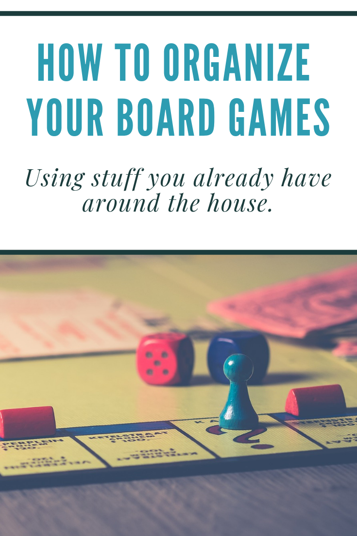 organize your board games using stuff you already have around the house